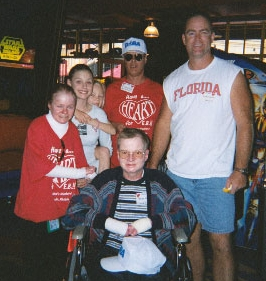 Bruce Gunn in the wheelchair, surrounded by, on left, Jennifer DePrizio, her sister Jody, her dad, and Randy Cameron